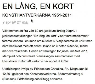En lång, en kort - Konsthantverkarna 2011