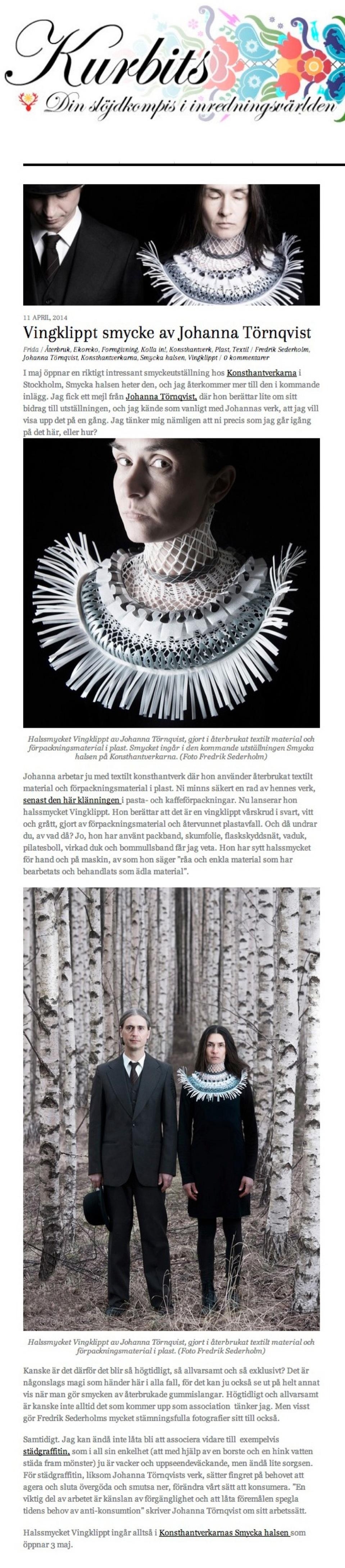 Kurbits 2014: Vingklippt smycke av Johanna Törnqvist