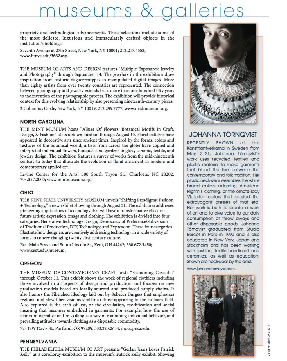 Cover of Ornament magazine 2014