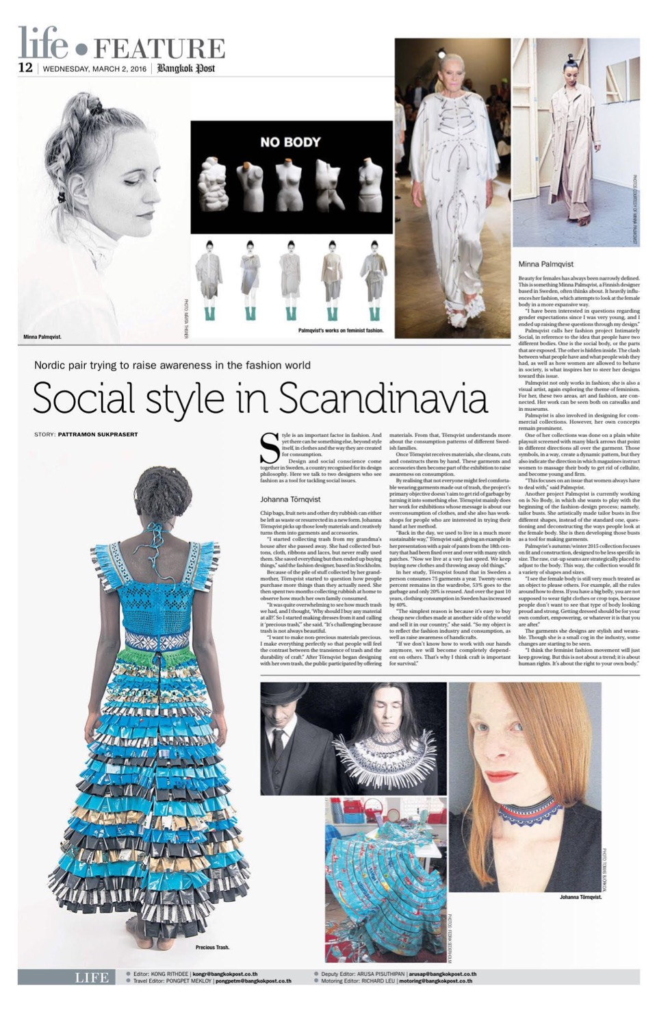 Johanna Törnqvist featured in BANGKOK POST