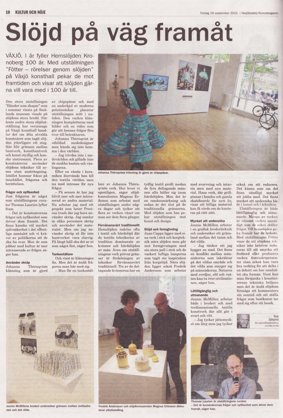 Växjöbladet: Slöjd på väg framåt (October 2015)